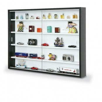 New display cabinet modern storage shelves wall glass case box collectibles c - Vitrine collection ikea ...